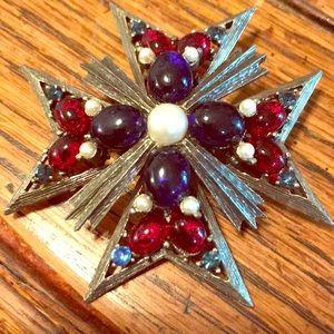 Weiss Maltese cross brooch